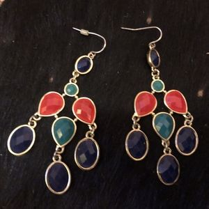 Teardrop Navy, Turquoise and Pink Earrings